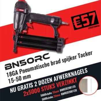 REDHEAD BN50RC 18GA Pneumatische brad spijker Tacker + Gratis afwerknagels 10.000 stuks | Promopack